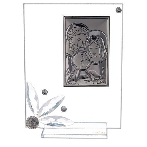 Quadretto bomboniera Sacra Famiglia vetro 1