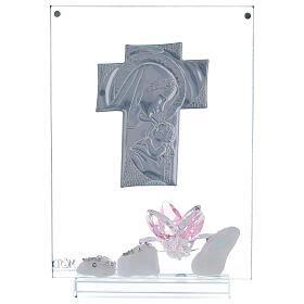 Picture panel engraved Maternity pink flower s3