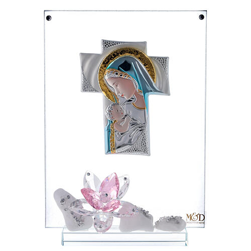 Picture panel engraved Maternity pink flower 1