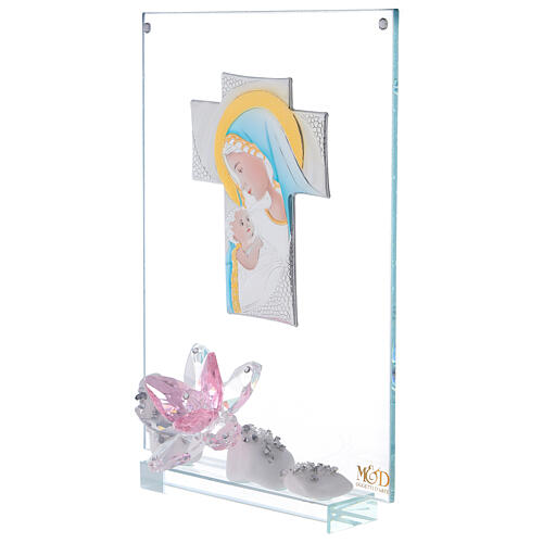 Picture panel engraved Maternity pink flower 2