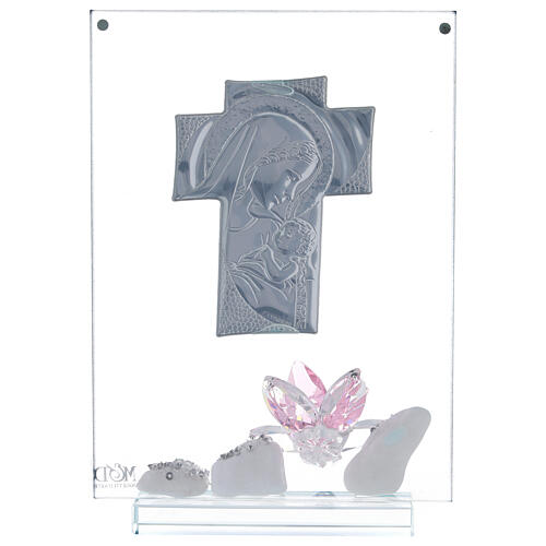 Picture panel engraved Maternity pink flower 3