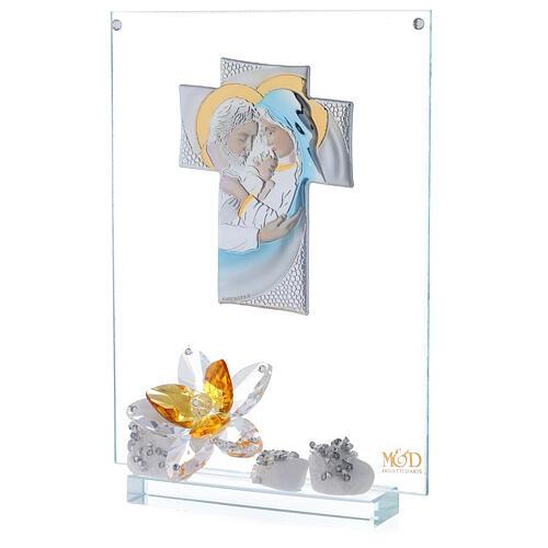 Cuadro Sagrada Familia con flor ámbar 2
