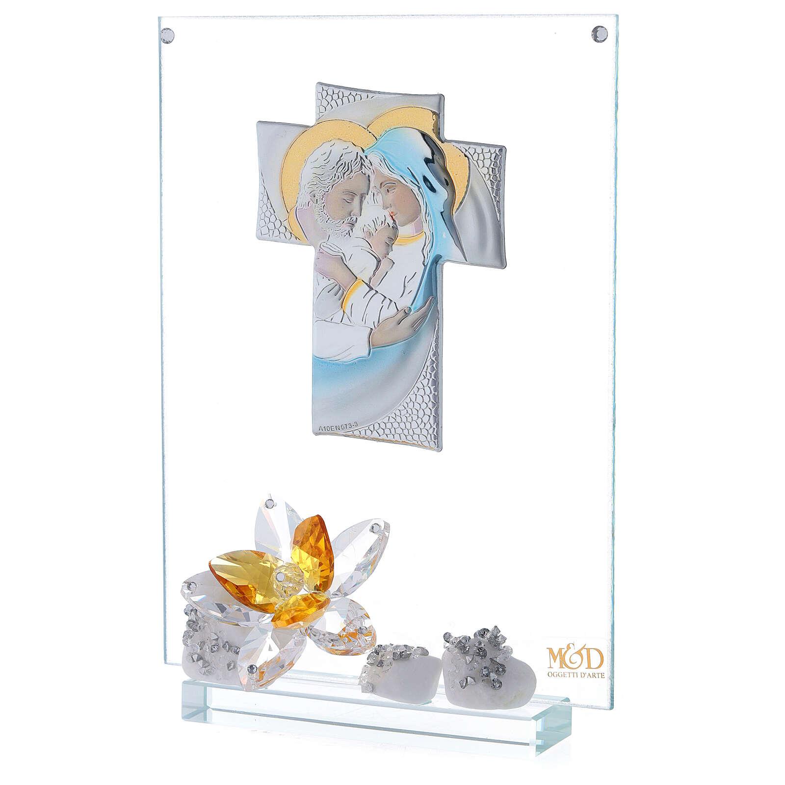 Quadro Sacra Famiglia con fiore ambra 3