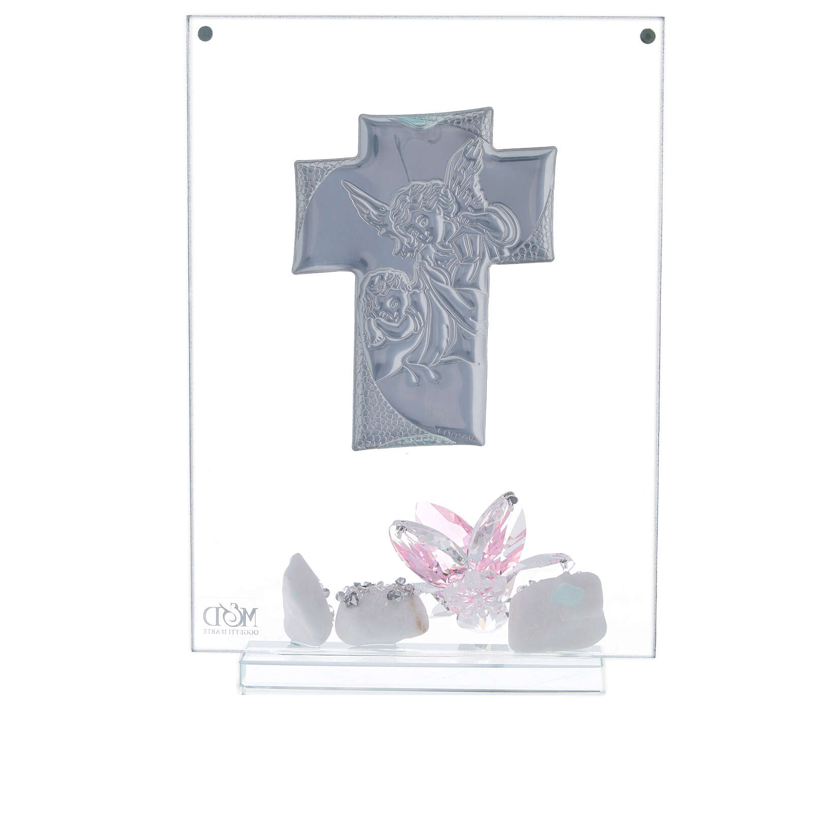 Cuadro ángeles y flor rosa Bautismo niña 3
