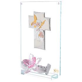 Cuadro ángeles y flor rosa Bautismo niña s2