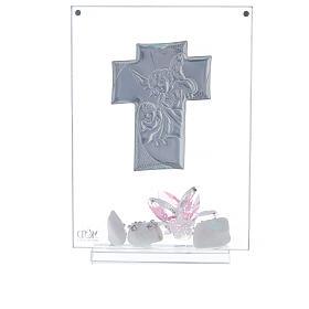 Cuadro ángeles y flor rosa Bautismo niña s3