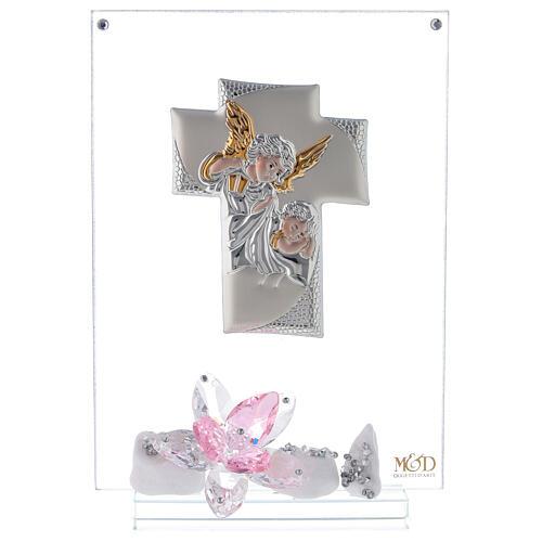 Cuadro ángeles y flor rosa Bautismo niña 1