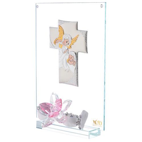 Cuadro ángeles y flor rosa Bautismo niña 2