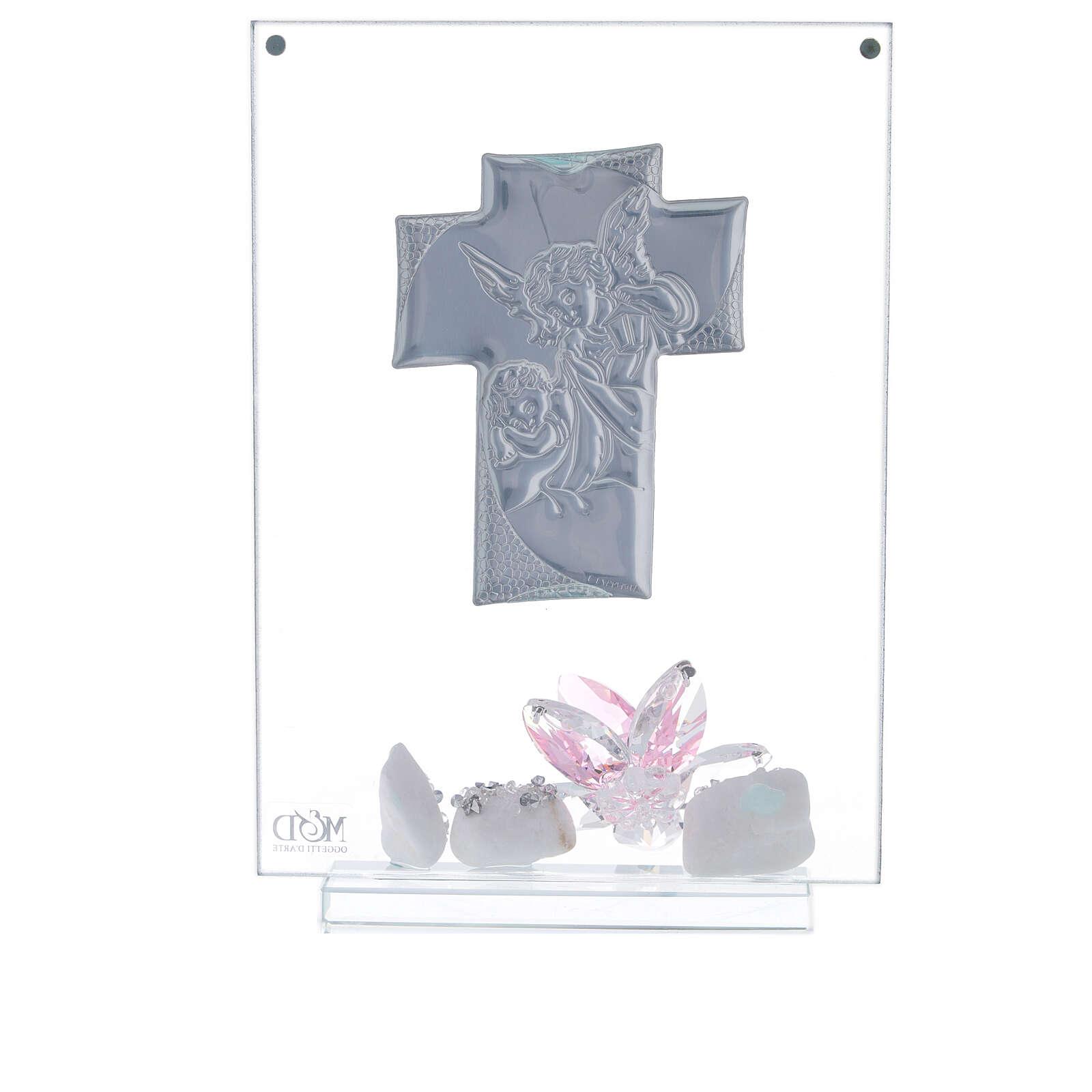 Quadro angeli e fiore rosa Battesimo bimba 3