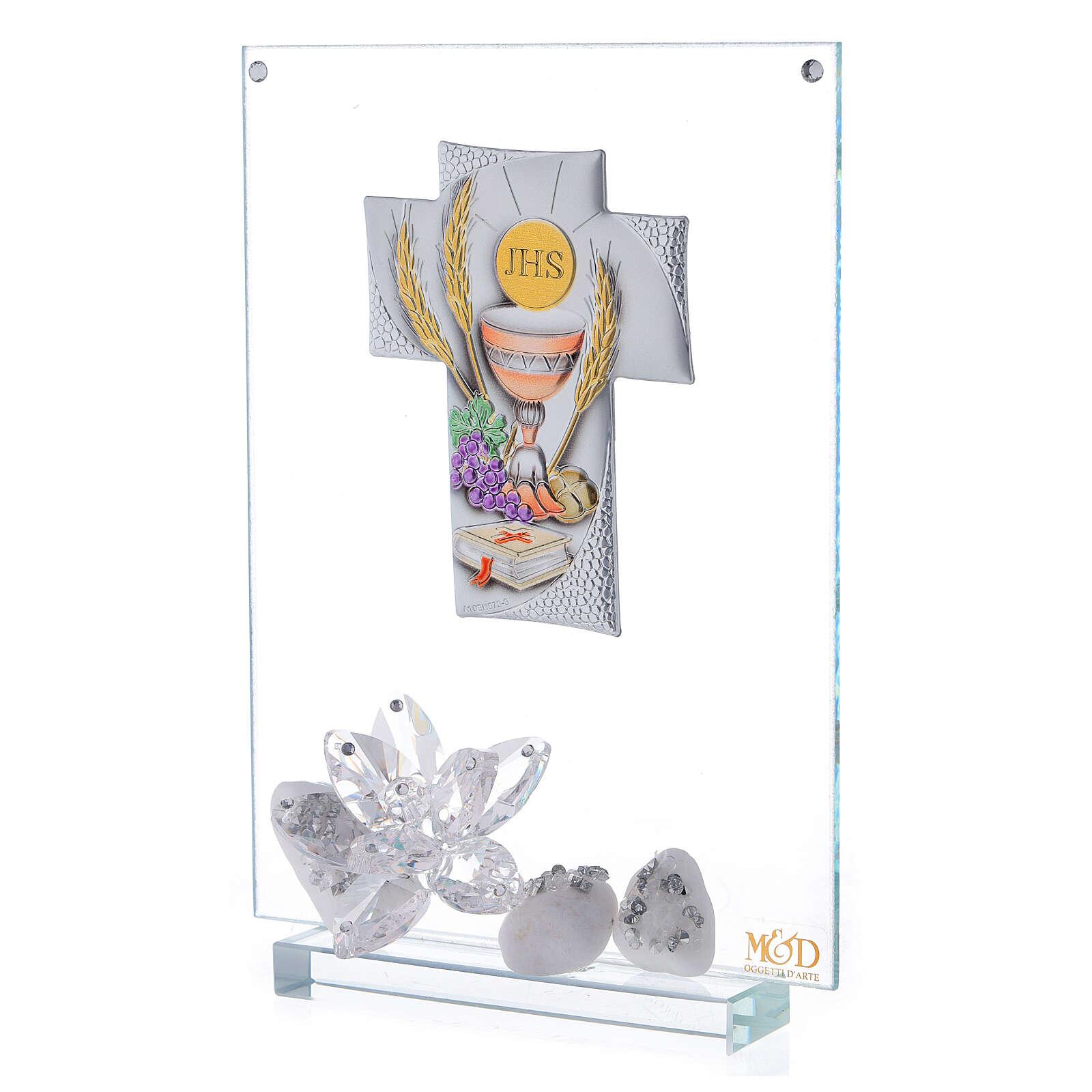 Cuadro vidrio placa en forma de cruz Comunión 3