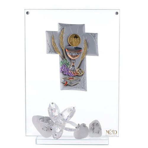 Cuadro vidrio placa en forma de cruz Comunión 1
