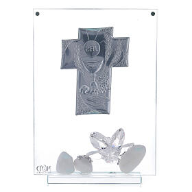 Glass picture cross shaped panel Holy Communion s3