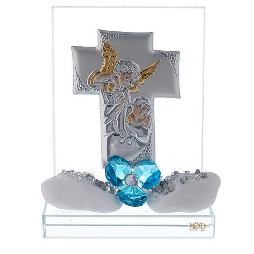 Souvenir Baptême garçon plaque croix 1