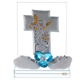 Favor boy's Baptism cross shaped panel s1
