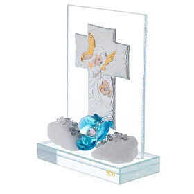 Favor boy's Baptism cross shaped panel s2