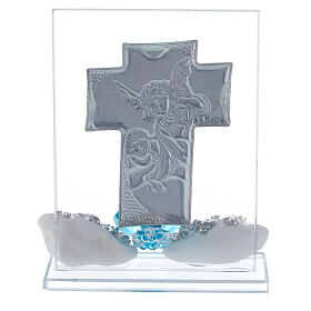Favor boy's Baptism cross shaped panel s3