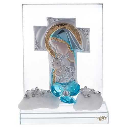 Cadre gravure maternité fleur bleue 1
