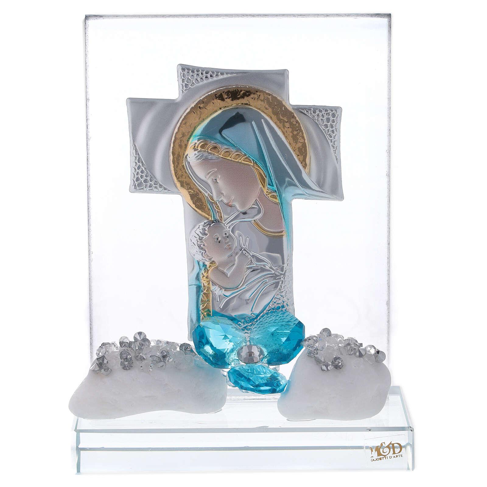 Quadretto incisione maternità fiore blu 3