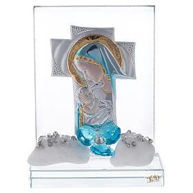Quadretto incisione maternità fiore blu s1