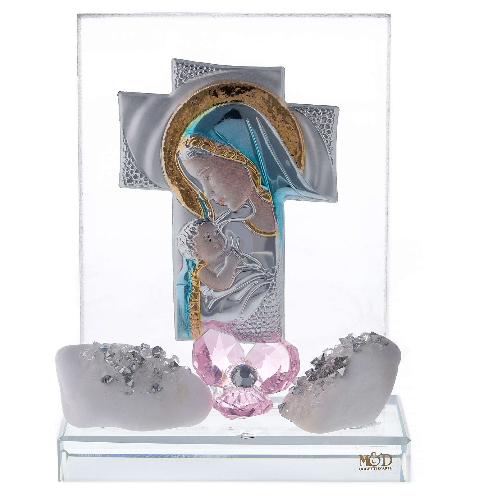 Favour in glass with pink flower 3