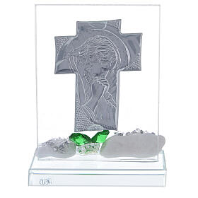Glass painting of Christ with green flowers s3