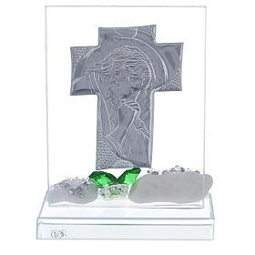 Cuadrito Cristo flor vidrio verde s3