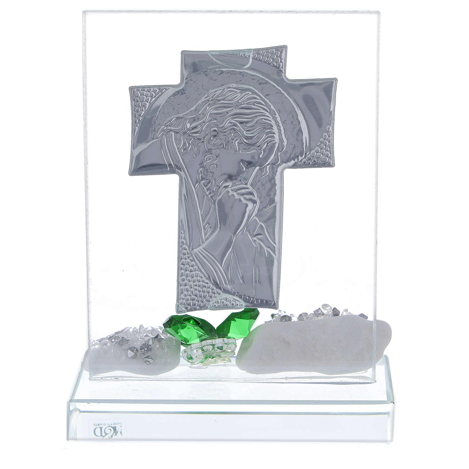 Quadretto Cristo fiore vetro verde 3