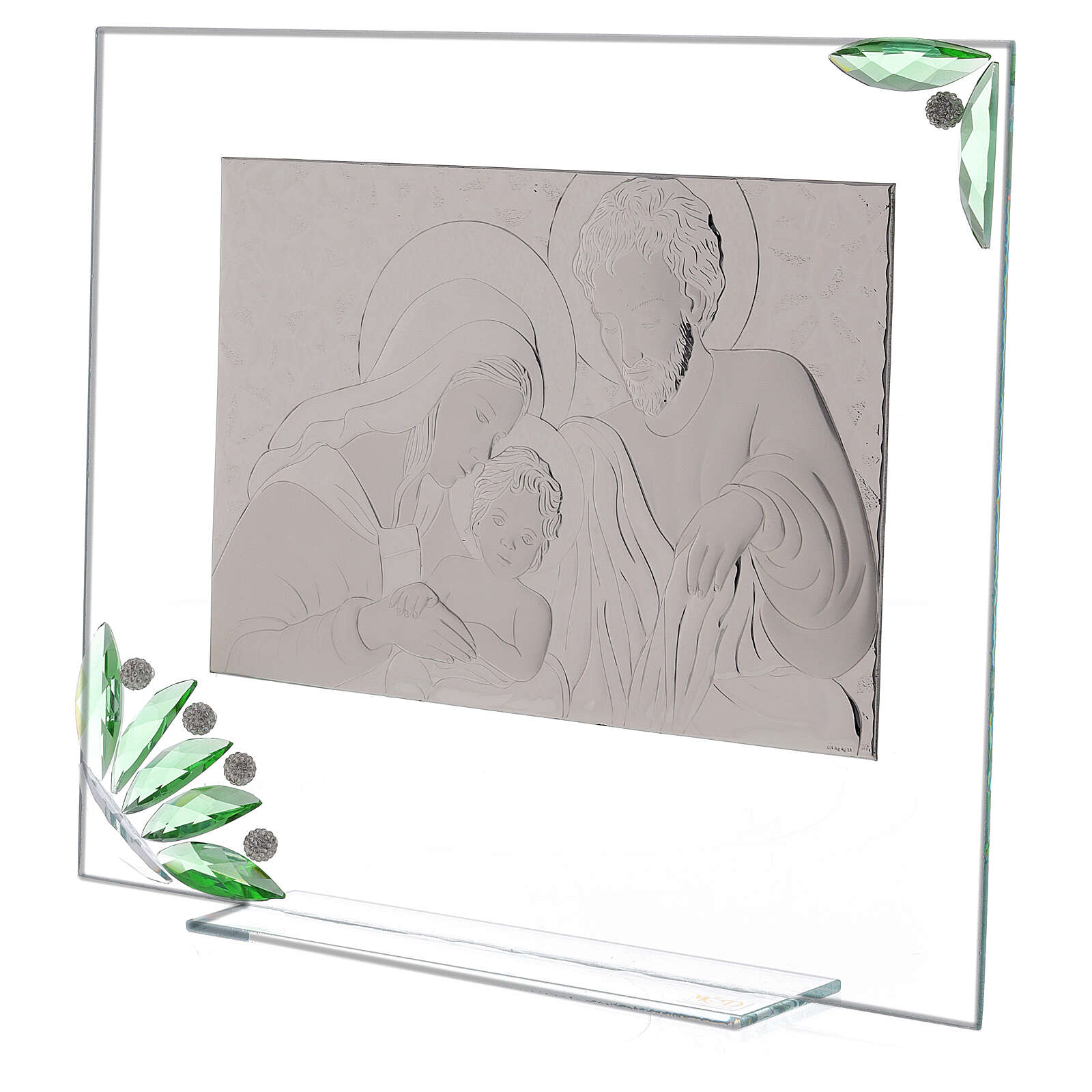 Glass painting of Holy Family with green flowers 3