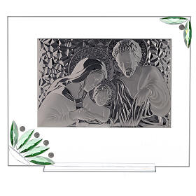 Glass painting of Holy Family with green flowers s1
