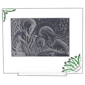 Glass painting of Holy Family with green flowers s3