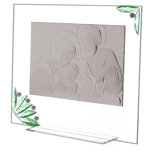 Glass painting of Holy Family with green flowers 2
