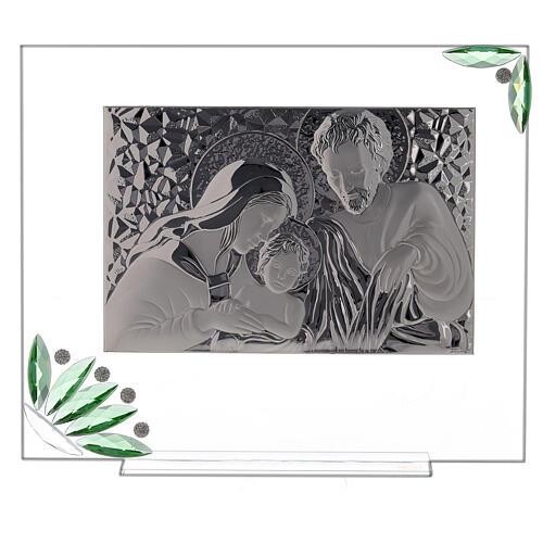 Quadro Sacra Famiglia fiori verdi 1
