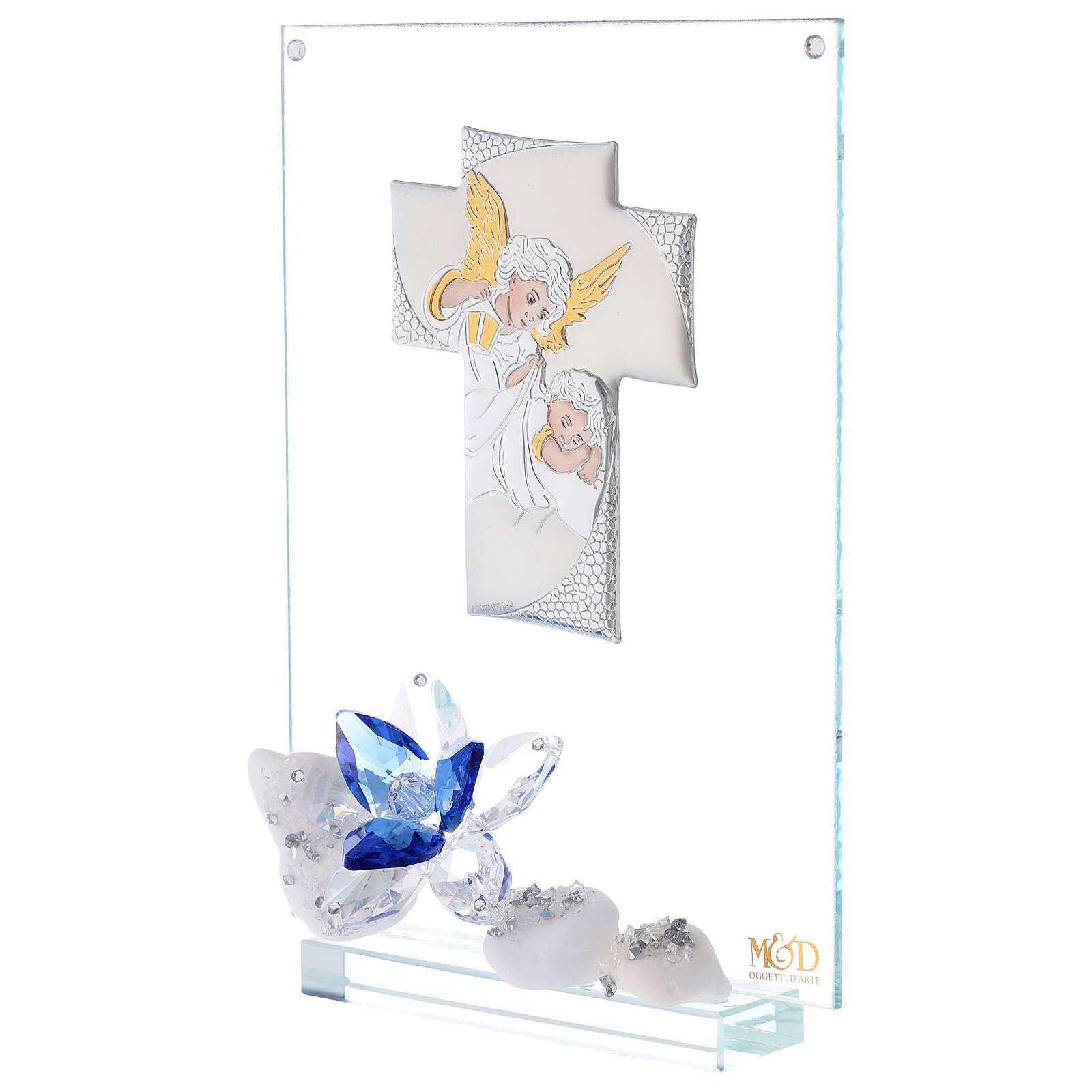 Glass painting with blue flowers for Communion 3