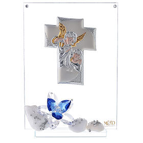 Glass painting with blue flowers for Communion s1