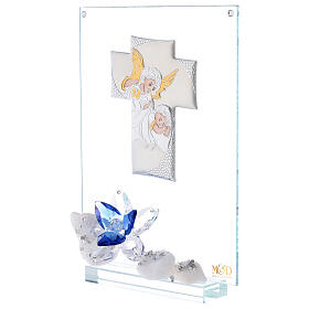 Glass painting with blue flowers for Communion s2