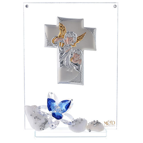 Glass painting with blue flowers for Communion 1