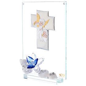 Cuadro flor azul Bautismo niño s2