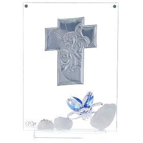 Cuadro flor azul Bautismo niño s3