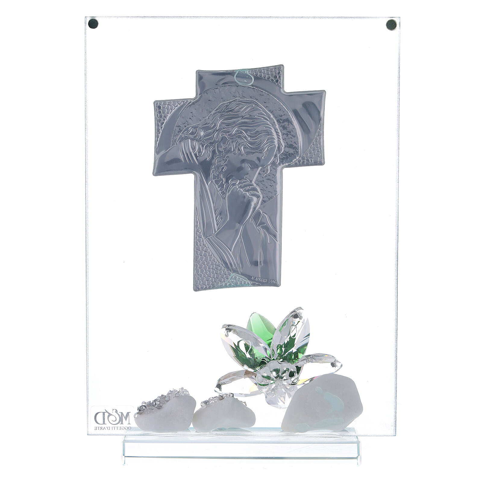 Glass painting of Christ with green flowers 3