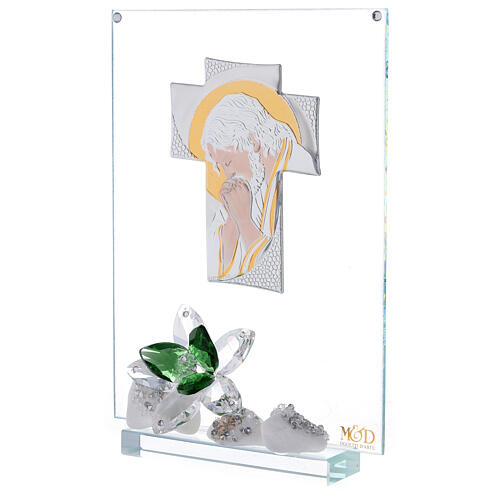 Glass painting of Christ with green flowers 2