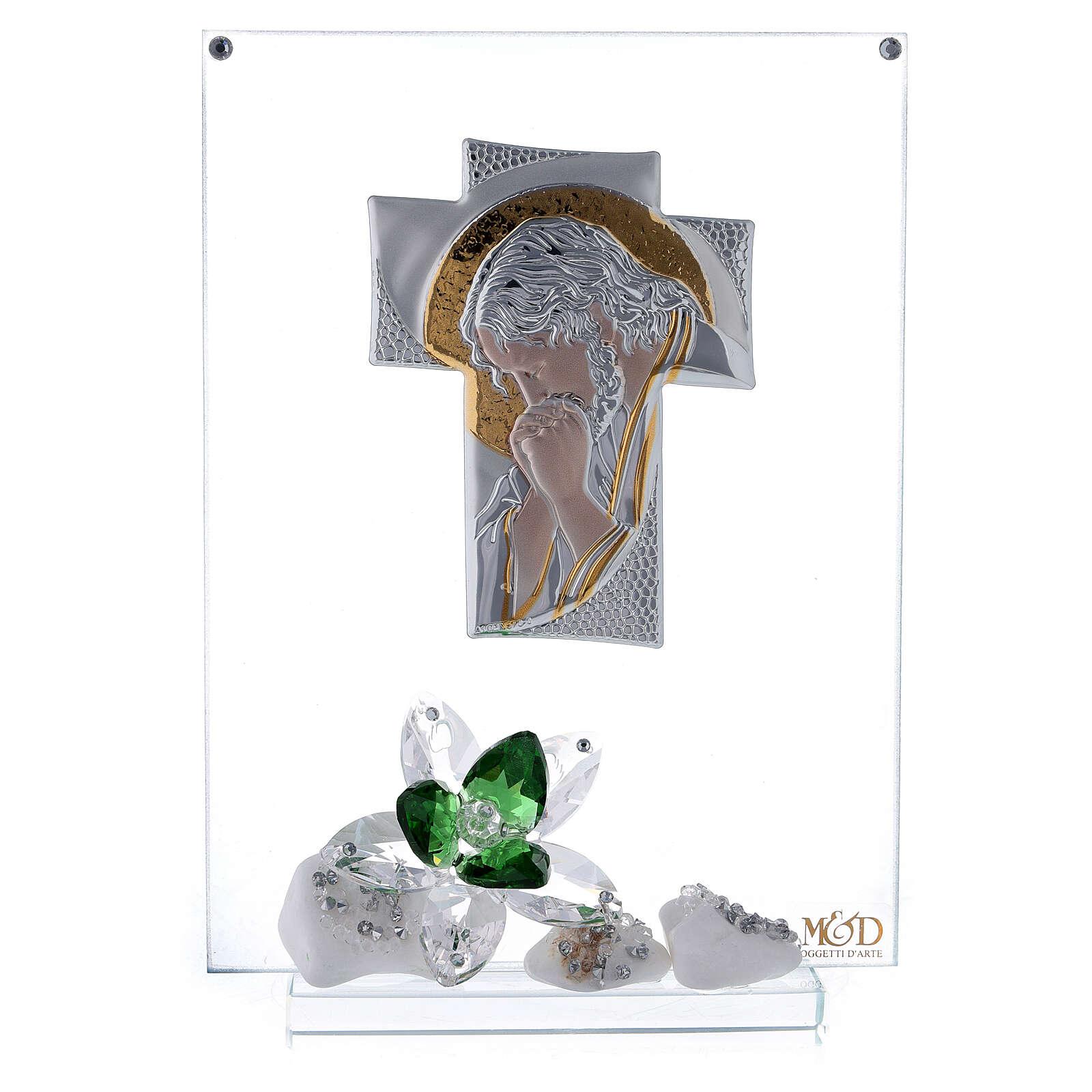 Quadro Cristo fiori verdi vetro 3