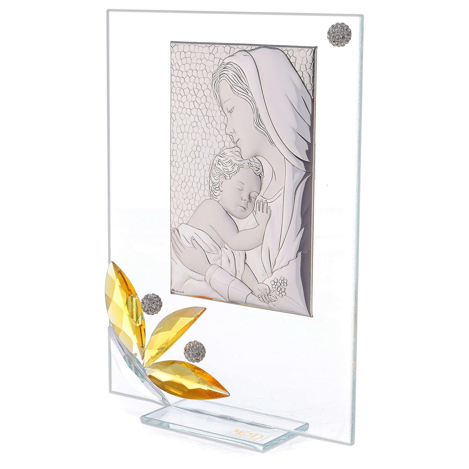Cuadrito maternidad regalo nacimiento flor ámbar 20x15 cm 3