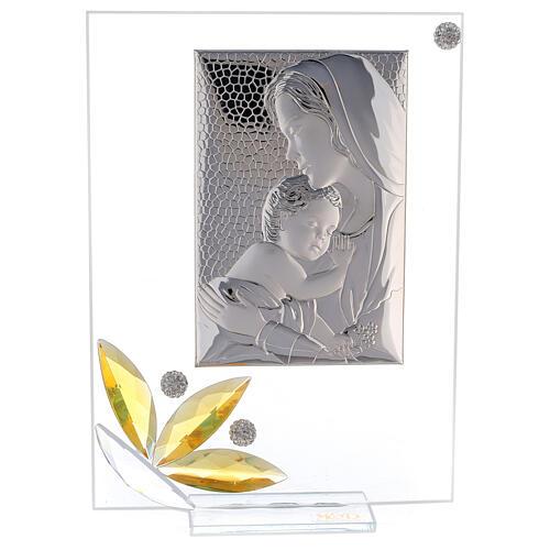 Cuadrito maternidad regalo nacimiento flor ámbar 20x15 cm 1