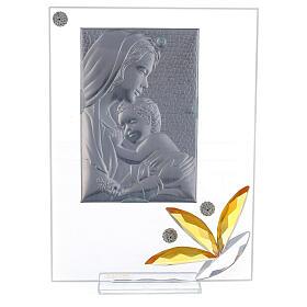 Quadretto maternità regalo nascita fiore ambra 20x15 cm s3