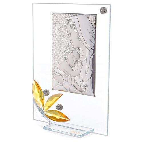 Quadretto maternità regalo nascita fiore ambra 20x15 cm 2