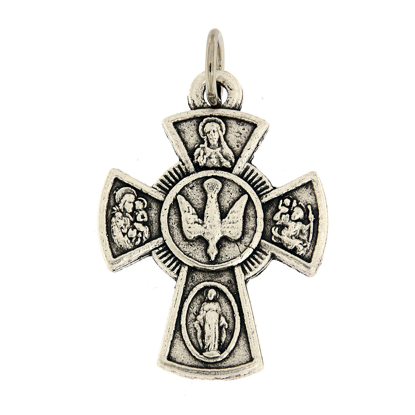 Ciondolo croce metallo simboli Cresima 3