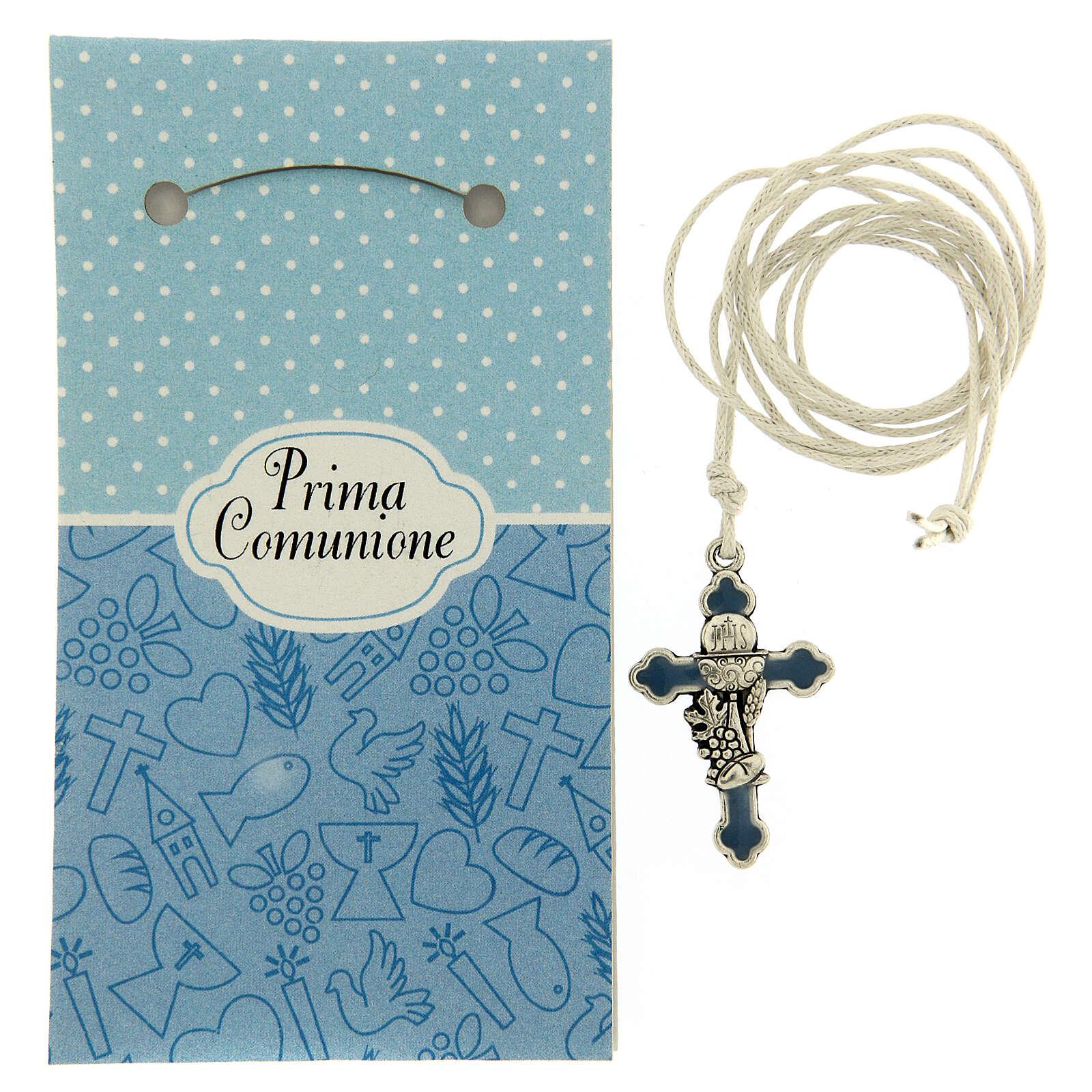 Cruz colgante metal esmalte azul Comunión 3