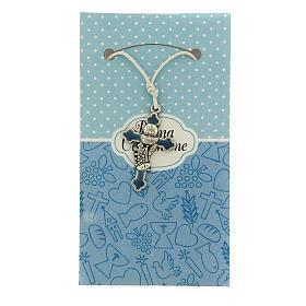 Croix pendentif métal émail bleu clair Communion s1
