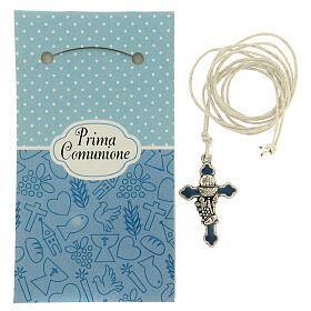 Croix pendentif métal émail bleu clair Communion s2
