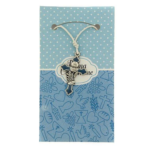 Croix pendentif métal émail bleu clair Communion 1